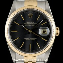 Rolex Steel & Gold Black Dial Datejust Gents 16233