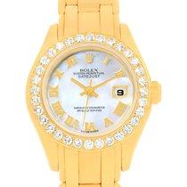 Rolex Pearlmaster 18k Yellow Gold Mop Diamond Ladies Watch 69298