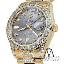 Rolex Yellow Gold Presidential Day-date 36mm Silver Diamond...