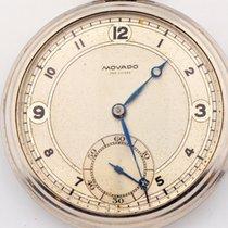 Movado Stainless Steel 15 Jewels Pocket Watch Open Face Swiss