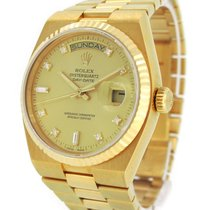 Rolex 18K Gold 19018A Oyster Quartz Day-Date with Diamond Index