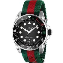 Gucci Dive XL  Black Dial Red and Green Nylon R