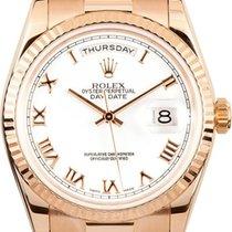 Rolex Unworn 118235_wht_roman Rose Gold Mens President Day -...