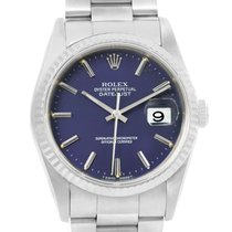 Rolex Datejust Steel White Gold Blue Baton Dial Mens Watch 16234