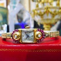 Fine Estate Panto 14k Yellow Gold Ruby Diamond Ladies Wristwatch