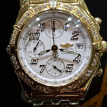 Breitling chronomat 18kt yellow gold diamond bezel