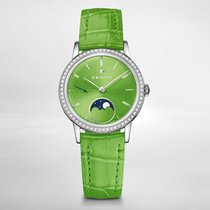 Zenith ELITE LADY MOONPHASE 33mm Bezel set 62 diamonds -Green...