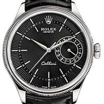 Rolex Cellini Date 50519-0007 Black Guilloche Index White Gold...