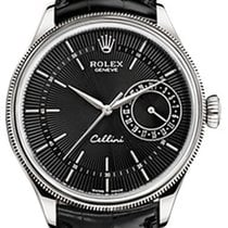 Rolex Cellini Date 50519-0007 Black Guilloche Index White Gold...