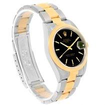 Rolex Date Mens Steel 18k Yellow Gold Black Dial Mens Watch 15203
