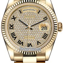 Rolex Day-Date 36mm Yellow Gold Fluted Bezel 118238 Pave...