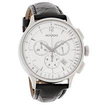 Movado Circa Mens Black Leather Swiss Chronograph Quartz Watch...
