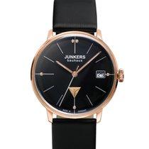 Junkers Bauhaus Lady Swiss Quartz Watch Rose Gold Case Black...