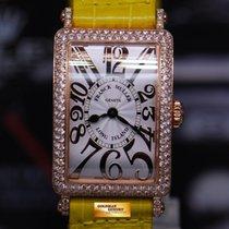 Franck Muller Long Island 18k Rose Gold 2 Rows Diamonds Quartz...