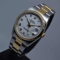 Rolex Datejust 36mm Gold Steel Fluted Oyster Roman Dial
