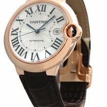 Cartier Ballon Bleu 18k Rosegold Brown Leather Auto Men Watch...