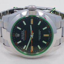 Rolex Milgauss 116400 Oyster Perpetual Green Crystal Watch...