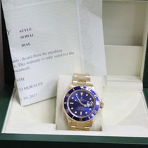 Rolex Submariner 16808 Blue Dial 40MM 18K Yellow Gold