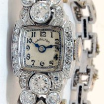 Hamilton Ladies Vintage Deco Platinum & 3.35 CT Diamond Watch