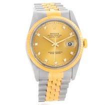 Rolex Datejust Steel Yellow Gold Diamond Dial Unisex Watch 16233