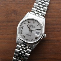 VINTAGE STAINLESS STEEL AND 18K WHITE GOLD DATE JUST 36MM