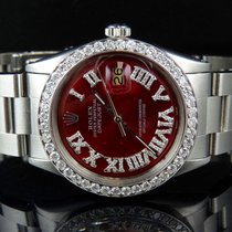 Rolex Mens Rolex Datejust Oyster Perpetual 36 MM Roman Red...