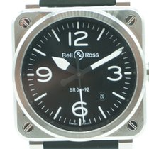 Bell & Ross BR 03-92-S Steel Date Rubber Buckle Strap