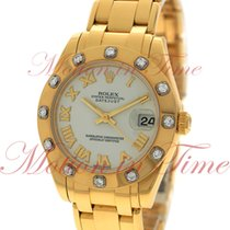 Rolex Datejust 34mm Pearlmaster, White Mother of Pearl Dial,...