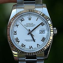 Rolex Mens Full Size 36mm Datejust Stainless Steel And White...