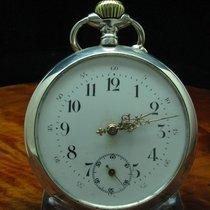 Große 800 Silber Open Face Taschenuhr / Durchmesser 60,0 Mm
