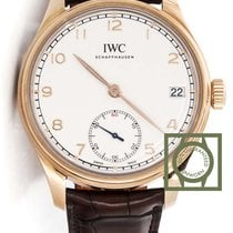 IWC Portuguese Hand-Wound 8 days pink gold white dial