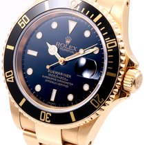 Rolex 18k Yellow Gold Submariner Black Dial - 16618