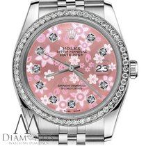 Rolex 36mm Rolex Datejust Glossy Peach Flower Dial With...