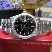 Rolex Oyster Perpetual Datejust Diamonds Stainless Steel Black...