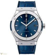 Hublot Classic Fusion Automatic Blue Titanium Leather Men'...