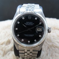 Rolex DATEJUST 1601 SS Black Diamond Dial with Folded Jubilee