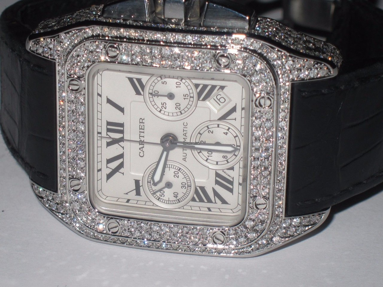 case dial xl strap watch alligator cartier pave chronograph diamond santos