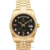 Rolex Day-Date Black/18k gold Dia Ruby Ø36mm - 118238