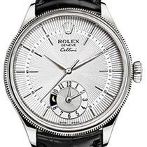 Rolex Cellini Dual Time 50529-0006 Silver Guilloche Index...