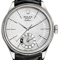 Rolex Cellini Dual Time 50529-0006 Silver Guilloche Index...