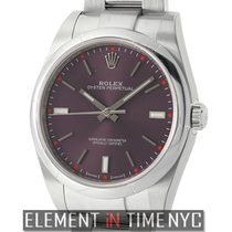 Rolex Oyster Perpetual 39mm No-Date Stainless Steel Red Grape...