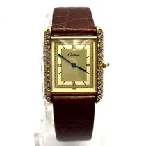 Cartier Tank Vermeil Gp 925 Argent Ladies Watch W/ H-i...