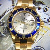 Rolex Submariner Date 18k Yellow Gold Slate Serti Dial Blue...