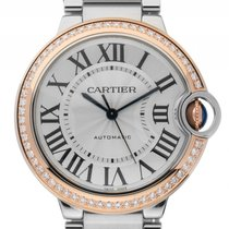 Cartier Ballon Bleu Stahl Roségold Diamond Automatik Armband...