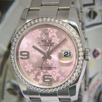 Rolex Datejust Steel Pink Floral Dial Diamond Bezel Watch...