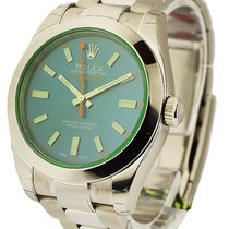 Rolex Unworn 116400 GV Milgauss Green Crystal with Blue Dial -...