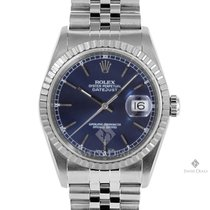 Rolex Datejust Stainless Steel Blue Stick Dial Engine Turned...