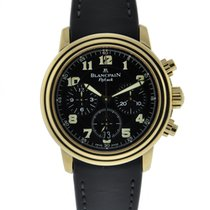 Blancpain Leman Flyback Chronograph 18kt Yellow Gold Black...