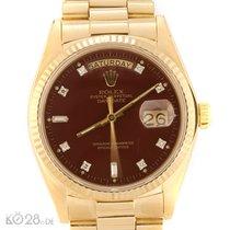 Rolex Day-Date 18038 STELLA Diamond Dial Ox Blood ca. 1980