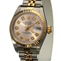 Rolex Oyster Datejust Lady Gold Steel Diamond Dial 26 mm